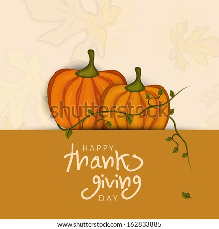 Happy Thanksgiving Day concept with pumpkin with autumn leaves on pink and brown background, can be use as flyer, banner or poster.  - stock vector