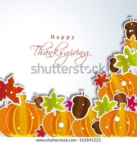 Happy Thanksgiving Day concept with pumpkins and maple leaves with space for your text, can be use as flyer, banner or poster.