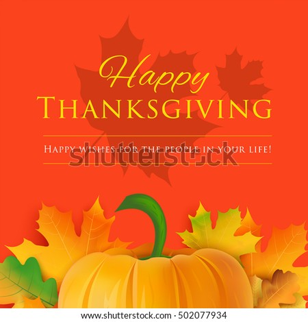 Happy thanksgiving day greeting card holiday stock vector 502077934 happy thanksgiving day greeting card holiday vector background pumpkin with fall leaves decoration and m4hsunfo