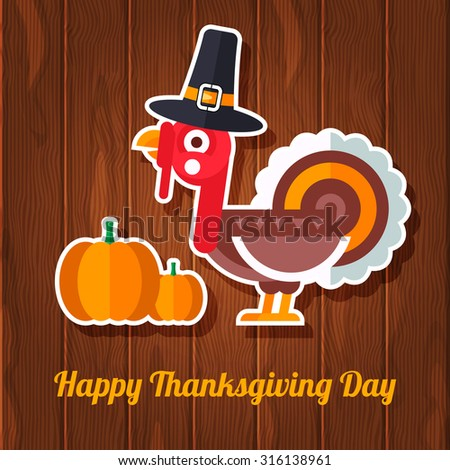 Happy Thanksgiving Day greeting card with flat styled traditional turkey and pumpkin. Fully editable vector illustration. Perfect for discounts and sales stickers.