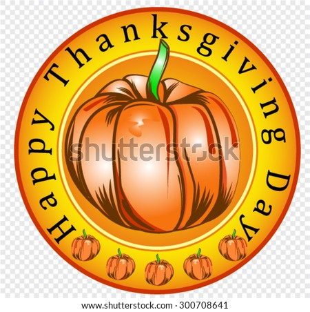 happy thanksgiving day, sticker - stock vector
