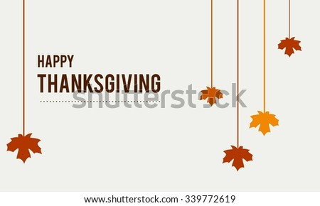 Happy Thanksgiving Day Typographic Poster Design template. Thank you greeting card template. Background full of branches and hanging maple Leaves.  Happy Thanksgiving banner. Badge vector illustration - stock vector