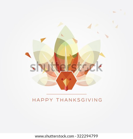 Happy Thanksgiving day vector illustration in modern geometric design style with abstract polygonal turkey with colorful feathers in autumn colors - stock vector