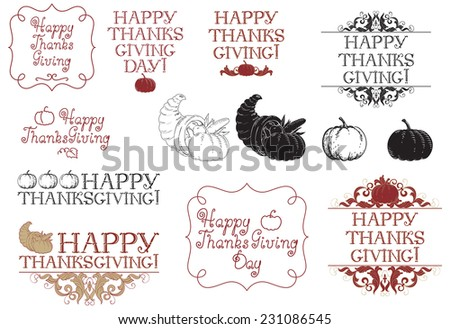 Happy thanksgiving day! Vector set of inscriptions and pictures for thanksgiving day at engraving style - stock vector