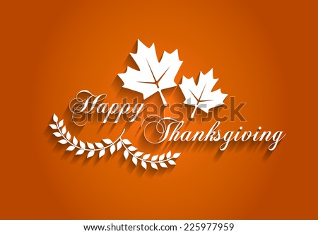 Happy Thanksgiving Design with Shadows - stock vector