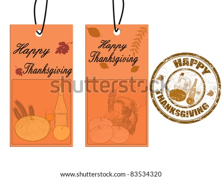 Happy thanksgiving greeting card labels and grunge stamp, vector illustration - stock vector