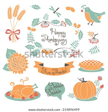 Happy Thanksgiving set of elements for design. Vector illustration. - stock vector