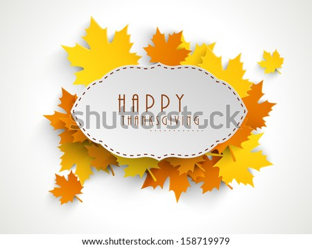 Happy Thanksgiving sticker, tag or label beautiful maple leaves.  - stock vector