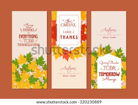 Happy Thanksgiving.Three autumn banners with colorful leaves - stock vector