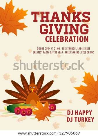 Happy thanksgiving turkey with autumn leaves, vector Flyer. - stock vector