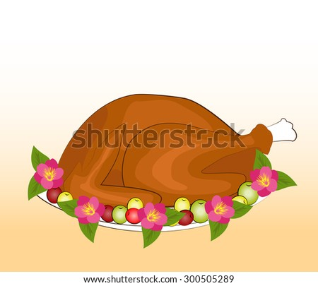 Happy thanksgiving with Roast Turkey Dinner - stock vector