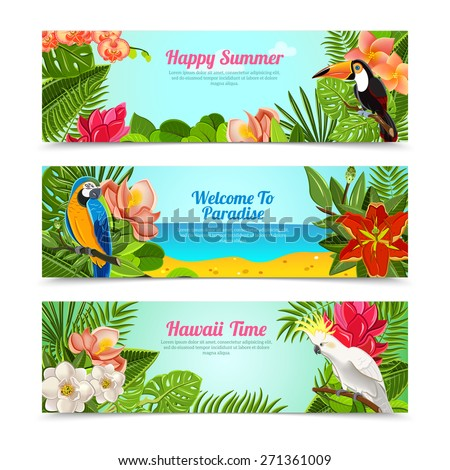 Happy time hawaii islands summer vacation horizontal posters set with tropical plants flowers abstract  isolated vector illustration - stock vector