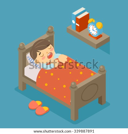 Happy to sleep. Sleeping boy. Young kid, cute person, sweet dream, comfortable bedroom, vector illustration - stock vector