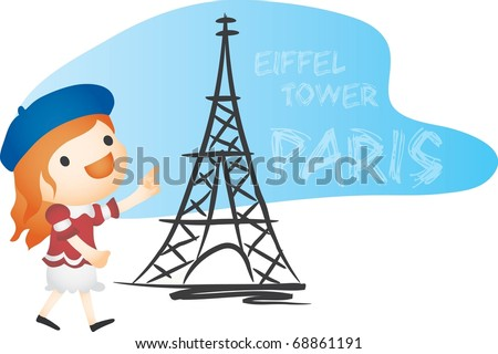Happy Tour with Cute Child - traveling in beautiful Paris : vector illustration - stock vector