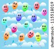 Happy toy balloon with smile in the sky. Vector seamless background. - stock vector
