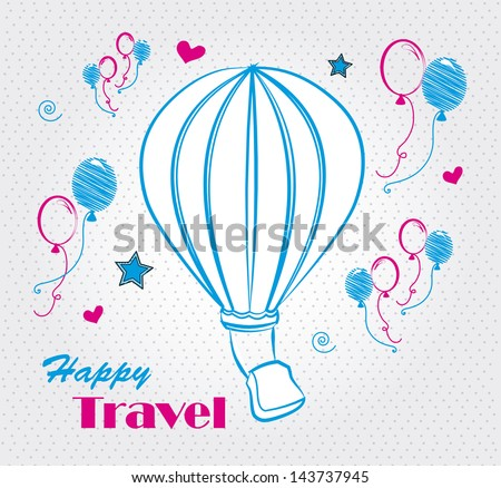 happy travel over dotted background vector illustration