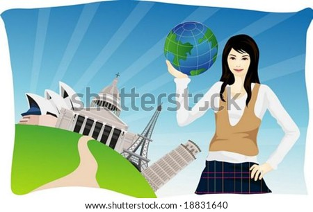 Happy Travel - smiling young girl with globe on a background of blue pattern and beautiful famous landmarks of the world - stock vector