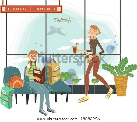 Happy Travel to Worldwide - a beautiful woman and a sitting man wait for boarding with suitcases and drink in the airport on white background with a flight view from the window : vector illustration - stock vector