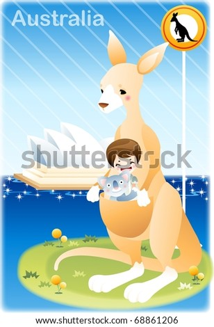 Happy Travel with Cute Friends : vector illustration - stock vector