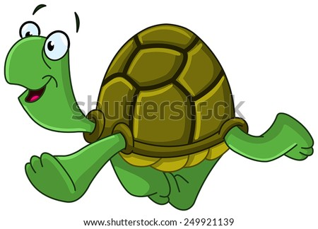 Happy turtle walking - stock vector