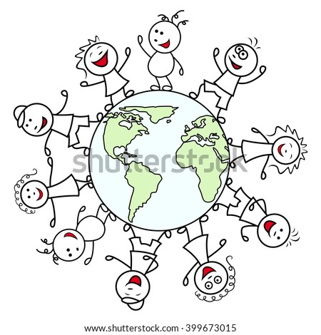 Happy unite people together around the globe celebrate the Earth Day, cartoon vector illustration - stock vector