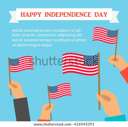 Happy US independence day card or background. Human hands holding American flags, vector illustration - stock vector
