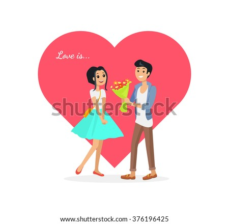 Happy valentine day couple on date. Man give flower woman. Valentine and day, couple and valentines day, happy valentine, couple in love, young couple, love and happy couple, flower and event. Love is - stock vector