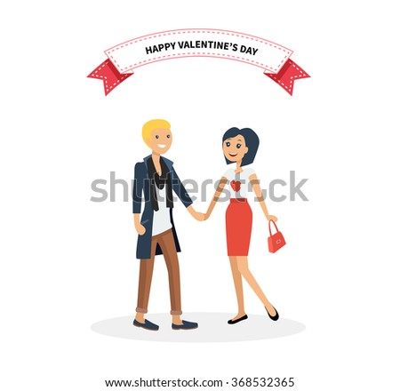 Happy valentine day couple on date. Man hold woman. Valentine and day, couple and valentines day, happy valentine, couple in love, young couple, love and happy couple, flower and event illustration - stock vector