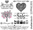 Happy valentine day decor. Collection of design elements vintage set isolated on White background. Vector illustration - stock vector