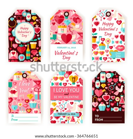 Happy Valentine Day Gift Tag Template Stock Vector 364766651 ...