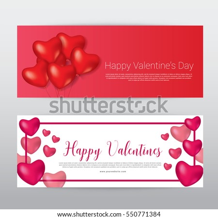 Happy Valentine Day Gift Voucher Coupon Stock Vector