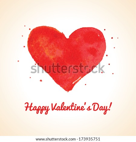 Happy Valentine Day greeting card on white background. Watercolor painted heart, vector element for your lovely design. Vector illustration for your card or poster. Vintage Valentines Day background. - stock vector