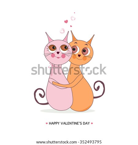 Happy valentine day with cats couple vector