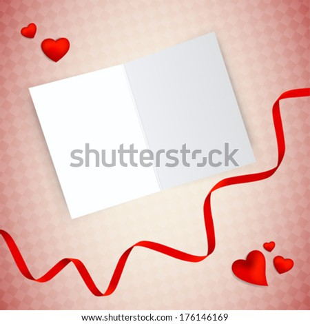Happy Valentine empty postcard design. Hearts scattered around with a red ribbon. Patterned background.