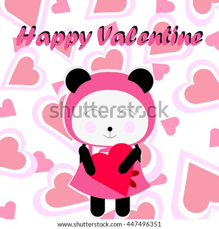 Happy Valentine illustration with cute pink panda brings love suitable for valentine's card