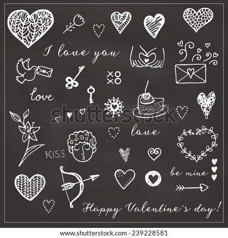 Happy Valentine's card. Hand drawn background elements. - stock vector