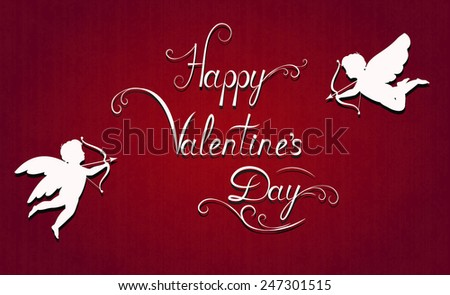 happy valentine's card, white calligraphic lettering and silhouette of cupid on red background, vector illustration - stock vector