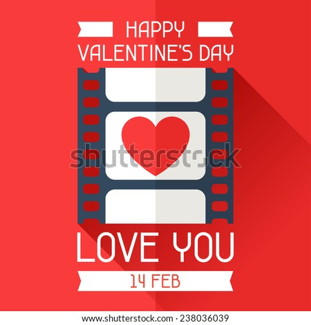 Happy Valentine's conceptual illustration in flat style. - stock vector