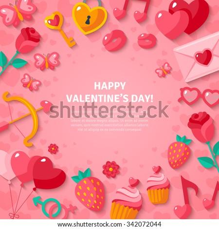 Happy Valentines Day Background Flat Valentine Stock Vector ...