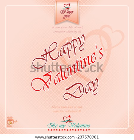 "Happy Valentine's Day background with heart logo and ""Be my valentine"", ""I love you"" text.  - stock vector"