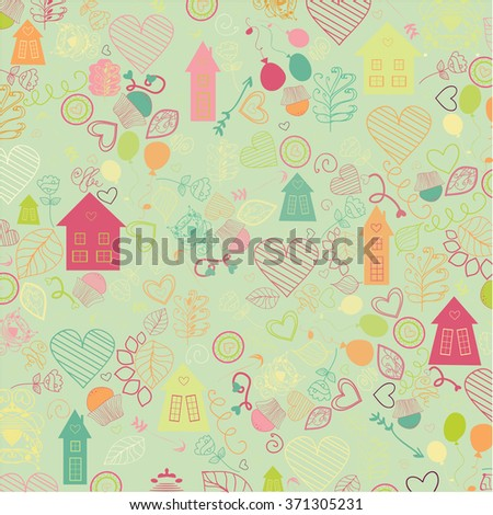 Happy Valentine's Day - Background with ornaments, hearts - stock vector