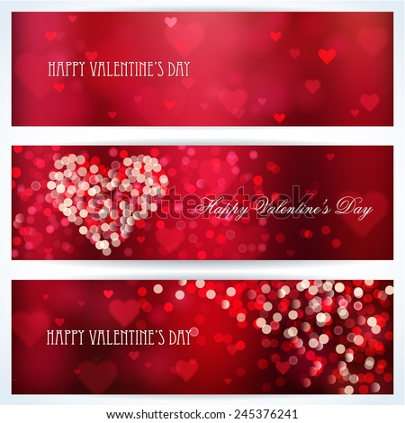 Happy Valentine's day banners. Shiny hearts and light vector background  - stock vector