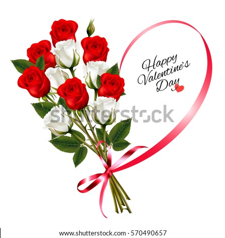 Happy Valentineu0027s Day Beautiful Background With Roses And Red Ribbon Vector.
