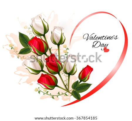 Happy Valentine's Day beautiful background with roses. Vector.