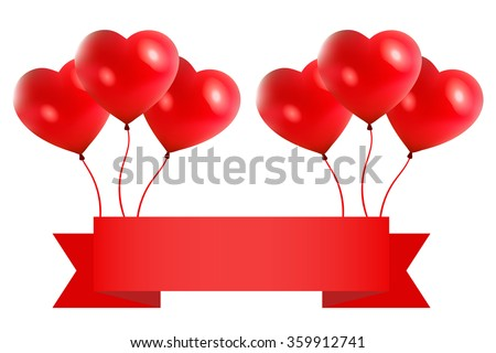 Happy Valentine's Day big sale card with red pink realistic banner ribbon balloons in form of heart isolated on white background. Vector illustration EPS 10