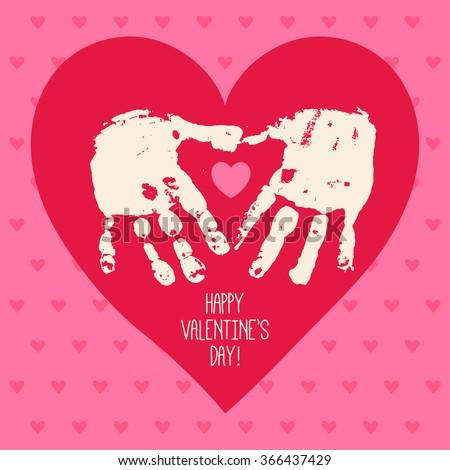 happy valentines day card design with handprint heart heart hands children handprint art