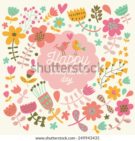 Happy Valentine's Day card in bright colors. Stylish floral romantic invitation card in vector. Awesome background in spring colors - stock vector