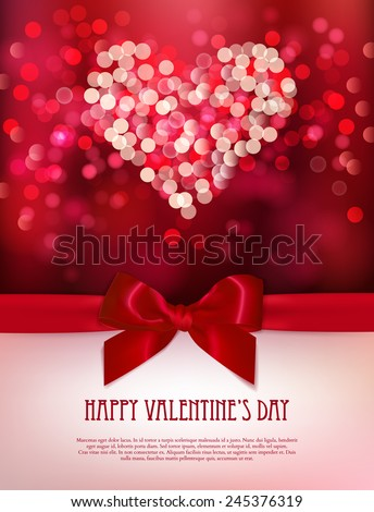 Happy Valentine's day card. Shiny heart and light vector background  - stock vector