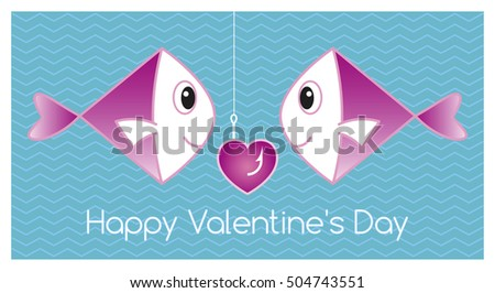 Happy Valentine's Day Card with a Fish Couple.