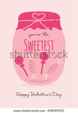Happy Valentine's Day Card with Candy Jar and Message - stock vector